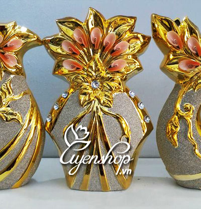 Hoa lụa, hoa giả Uyên shop, Bộ Vàng trang trí