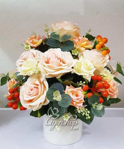 Hoa lụa, hoa giả Uyên shop, Hoa Lụa – Bình hoa hồng