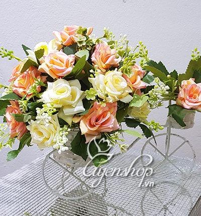 Hoa lụa, hoa giả Uyên shop, Hoa lụa – Xe đạp hoa hồng
