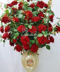 Hoa lụa, hoa giả Uyên shop, Bình Hồng Nhung Đỏ