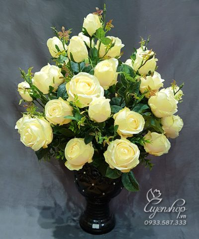 Hoa lụa, hoa giả Uyên shop, BÌNH HỒNG KEM