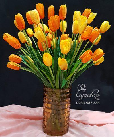 Hoa lụa, hoa giả Uyên shop, Rực Rỡ cùng Tulip Vàng