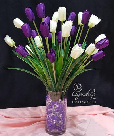 Hoa lụa, hoa giả Uyên shop, Trang nhã cùng Tulip trắng tím